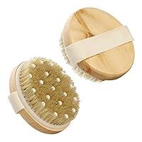 Cepillo para cuerpo seco /húmedo con nódulos de masaje de ROMER - Cerdas naturales para una mejor exfoliación - Células de piel muertas y claras mientras reduce la celulitis y las toxinas