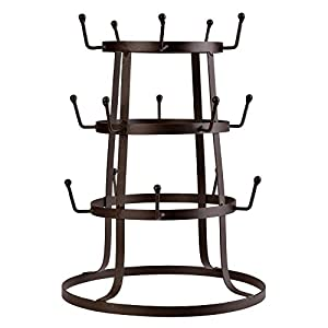 Leoneva Retro Rustic Black Steel Cup Mug Tree Hanger Hook Drying Rack Organizer Stand