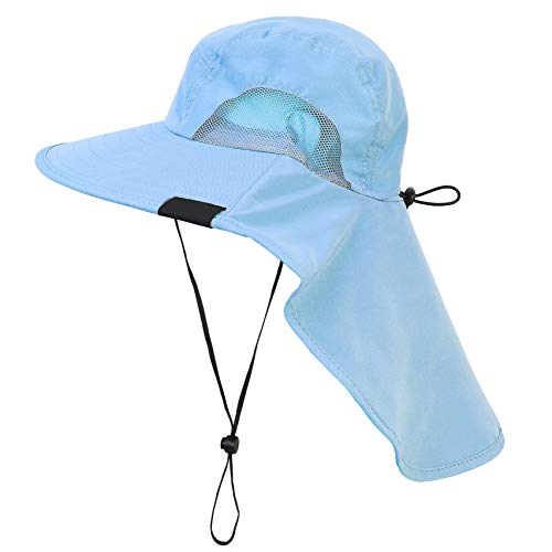 (Tirrinia Outdoor Sun Protection Fishing Cap with Neck Flap, Wide Brim Sun Hat for Travel Camping Hiking Hunting Boating Safari Cap with Adjustable Drawstring, Tan)