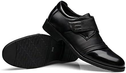 本革スプライスヴァンプフック&ループストラップ通気性ビジネス裏地オックスフォードブロックヒールメンズシューズ 快適な男性のために設計