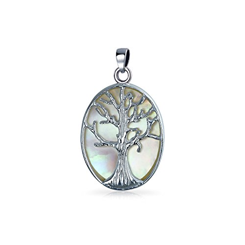 14mm White Shell Pearl Pendant (Bling Jewelry Sterling Silver Reversible Mother of Pearl Tree of Life Pendant)