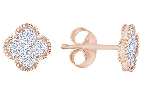 Round Cut White Natural Diamond Flower Stud Earring in 14K Rose Gold (0.31 Cttw)