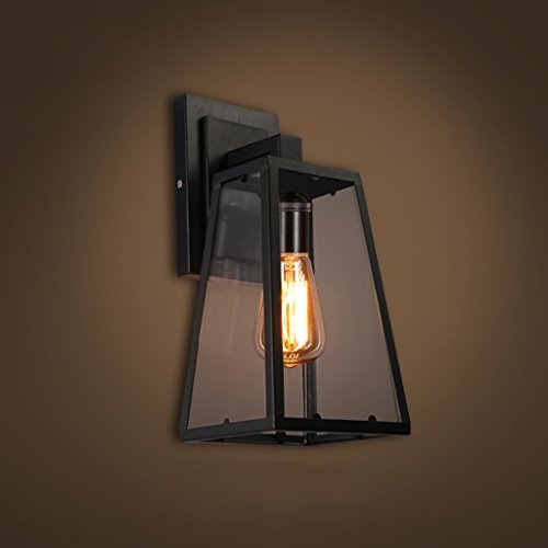 American Retro Industrial Style Single Wall Lamp, European Outdoor Staircase Outdoor Aisle Living Room Bedside Iron Wall Lamp, Glass Waterproof Lamp Cover Wall Lamp (Size : B)