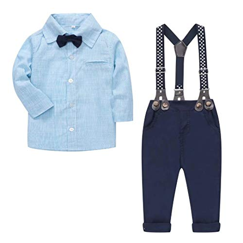 Baby Boys Clothes, Long Sleeves Dress Shirt Dress Shirt and Suspender Pants Set Tuxedo Gentlemen Outfit with Bow Tie for Newborn Toddlers Baby Boys, S01 Blue, 9-12 Months/Tag 80