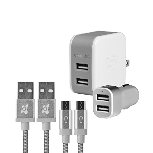 Ubio Labs 6ft tangle free Micro USB cable kit for Android, Samsung, HTC, LG, Motorola. Long woven charge/sync cord with dual USB wall and car charger. 2.4A /4.8A (24W) output for fast charge.