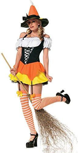 Kandy Korn Witch Adult Womens Costumes (Leg Avenue Women's Kandy Korn Sexy Witch, Large)