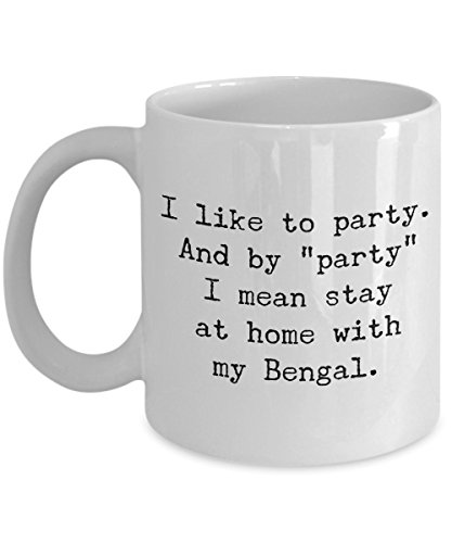 Bengal Cat Mug – I Like to Party – Funny Cat Lover Coffee Cup Gift, 11 oz.