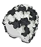 Beemo Latex Swim Cap - Women Stylish Swimming Cap Great for Ladies, Perfect to Keep Hair Dry - Suitable for Long Hair - Flowal Petal Vintage Style -Black/White