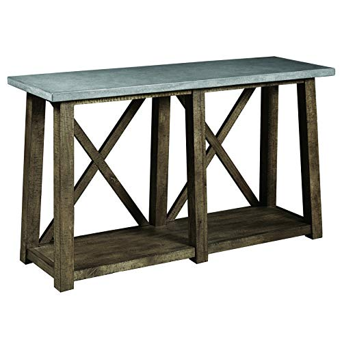 (Pulaski DS-D153-K3 Industrial Two Piece, Oak Brown/Concrete Grey Console and End Table Set)