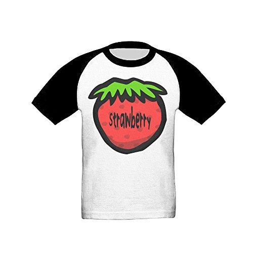 IKOU Strawberry Children Short Sleeve Baseball Raglan T-shirt Black 2 Toddler