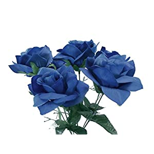 2 Bushes Open Rose Artificial Silk Flowers Bouquet 6-7203 Royal Blue 3
