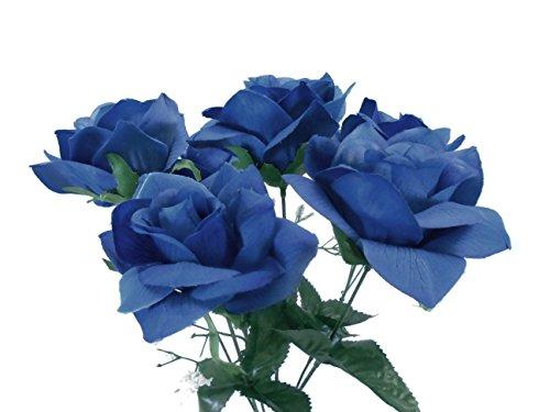 2-Bushes-Open-Rose-Artificial-Silk-Flowers-Bouquet-6-7203-Royal-Blue