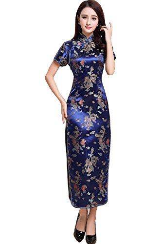 Short Sleeve Cheongsam Dress - Shanghai Story Short Sleeve Long Qipao Chinese Cheongsam Dress 4 Dark Blue Dragon
