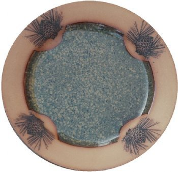 Pinecone Dinner Plate in Seamist Glaze Pottery Pinecone