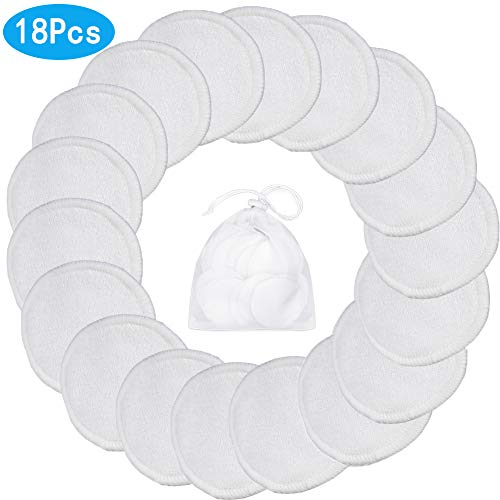 Makeup Remover Pads,18 Packs Reusable Bamboo Face Clean Round Wipe Cloth Chemical Free With Laundry Bag(white)
