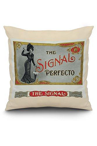 The Signal Perfecto Brand Cigar Box Label (20x20 Spun Polyester Pillow, White Border)