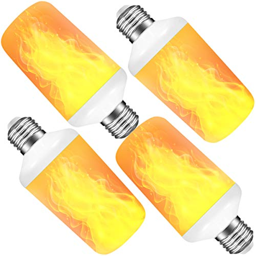 [4 Pack] LED Flame Effect Light Bulb with 4 Lighting Modes and Upside-Down Feature, 7W E26 Standard Base Fire Light Bulb for Christmas Home/Hotel/Bar Party Decoration