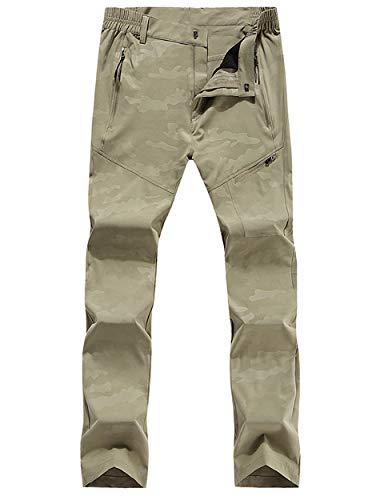 KING Shield Men's Windproof Climbing Hiking Pants Soft Shell Pant (US(32-33), Khaki)