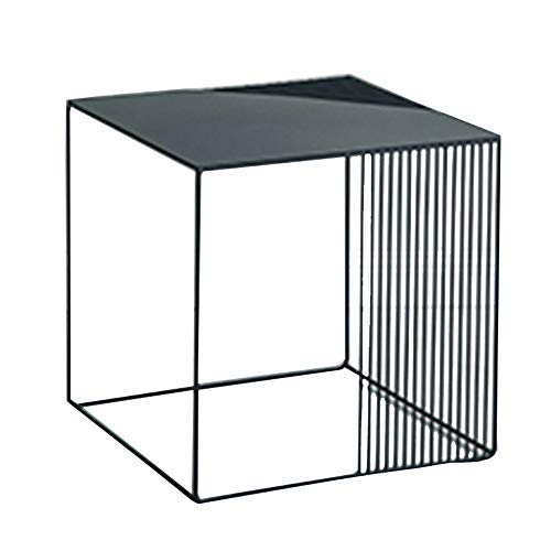 NAN Liang Square Side Table/Console, Wrought Iron Frame, Modern Design - can be Used as Side Table, Metal, Black, 45x45x45 cm Folding Tables (Size : 4545cm) ()