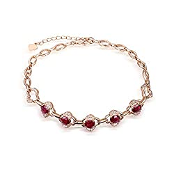Rose Gold Genuine Tourmaline Ruby Diamond Bracelet