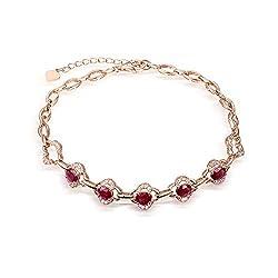 Rose Gold Genuine Tourmaline Ruby Diamond Bracelet