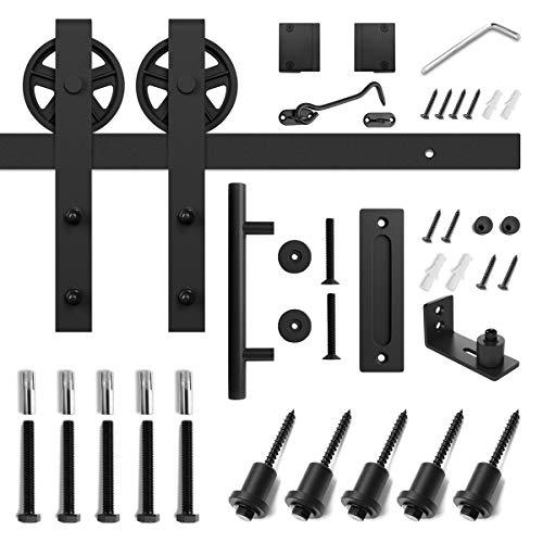 6.6ft Heavy Duty Sliding Barn Door Hardware Kit, 6.6ft Single Rail, Black, (Whole Set Includes 1x Pull Handle Set & 1x Floor Guide & 1x Latch Lock) Fit 36''-40'' Wide DoorPanel (Bigwheel Hanger) by SMARTSTANDARD (Image #6)