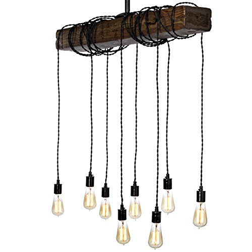 Farmhouse Style Light Fixture - Wrapped Wood Beam Antique Decor Chandelier Pendant Lighting - Vintage Kitchen, Bar, Industrial, Island, Billiard and Edison Bulb Decor. Natural Reclaimed Style Wooden