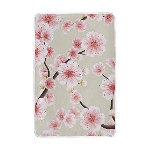 CPYang Motifs Sakura Floral Couvre-lit Doux et Chaud en Microfibre Lit canapé couvertures pour Adulte Filles garçons Enfants 152 x 229 cm