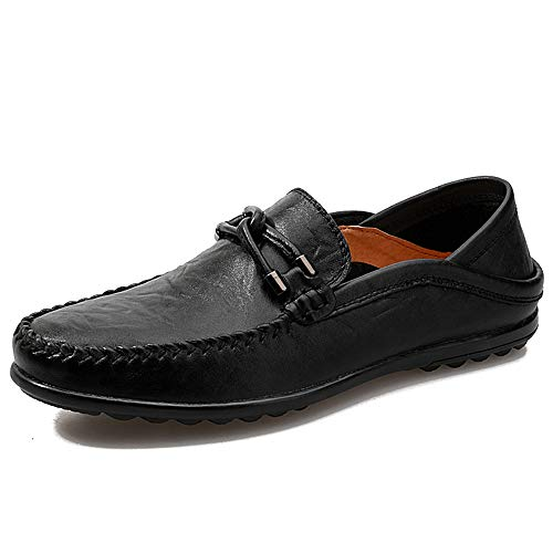 0cm Zapatos Suave Negocios Zgsjbmh gommino Genuino gommino Mocasín Moccasin Cuero Diseño 0cm 24 Liviano Hombres 27 Planos Bajos Negro tamaño Los Confort Y Único De 0ff1q5w