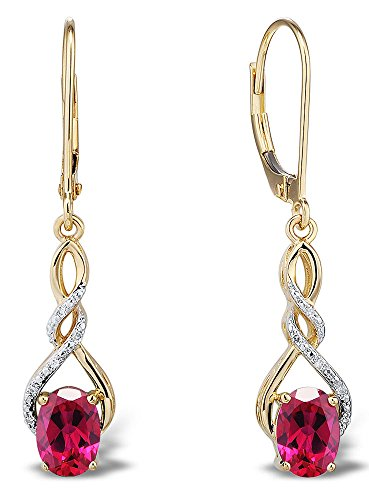 Lab Created Ruby Earrings Diamond Accent in 10k Yellow Gold (Gold Created Ruby Lab 10k)