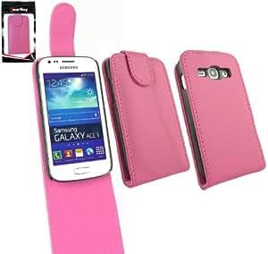 Emartbuy® Samsung Galaxy Ace 3 S7270 Superior De La Pu Del Cuero Del Tirón Del Caso / Cubierta / Bolsa Rosas Fuertes Y Protector De Pantalla