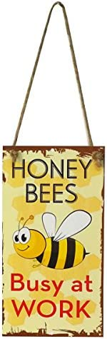 Hanging Decor Metal Welcome Sign Plaque With Bee