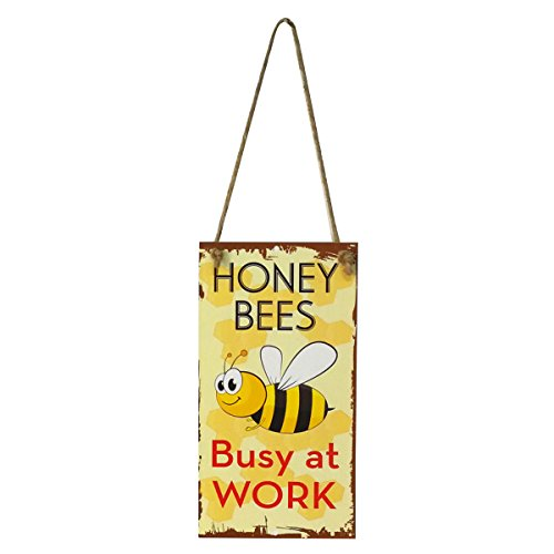 (WINOMO Honey Bees Busy at Work Novelty Funny Wood Sign Garden Decorative Plaque Hanging Sign Board )