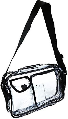 SIEG クリーンルームショルダーバッグ エンジニア クリアバッグ 2ポケット付き 大容量 セキュリティ (ブラック)