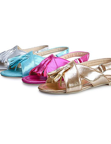 LFNLYX Zapatos de mujer-Tacón Plano-Punta Abierta-Sandalias-Casual-Semicuero-Azul / Rojo / Plata / Oro golden