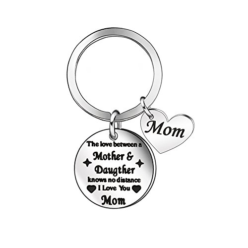 Niceter Mother Daughter Love Jewelry Heart Pendant Key Chains Rings Keychain Gift for Mom