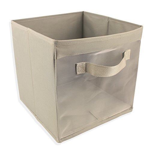 EASYVIEW Storage Cube with Handle 100% Woven Oxford Nylon Bin with Mesh See Thru Side 10.5 x 10.5 x 10 Inches, Foldable, White, Brown and Grey (Light Grey) ()