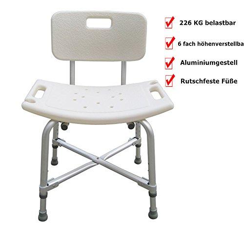 Roilois Duschhocker mit Rückenlehne Aluminiumgestell 6 fach höhenverstellbar für Alter Schwangere Behinderter bis zu 226kg belastbar(A)