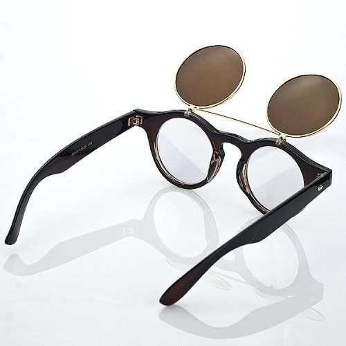 Hot Retro Style Round Clamshell Sunglasses Eyewear Vintage Renovate Mirror Lens Double Cover Eyeglasses Sun Glasses Steam Punk Men Women Circle Sunglasses Glasses - Luxury Price Sunglasses