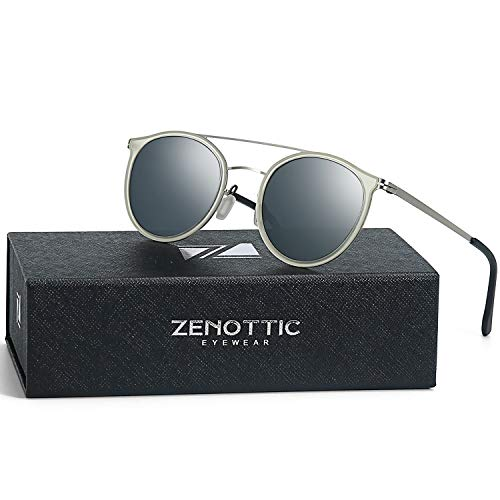 ZENOTTIC Ultra Lightweight Metal Small Round Sunglasses for Women Men Polarized Double Bridge (Gray Lens/TransparentSilver Frame, Round)