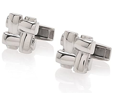 De Lorenzo of New York Titanium Luxury Polished Knot Cufflinks - Classic Nappa Vitello Leather