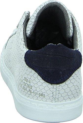 Bullboxer 809E5 Damen Sneaker Schnürschuh Schlangenlederoptik Weiß