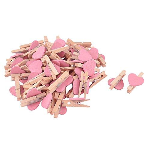 (uxcell Card Photo Decoration DIY Heart Shape Mini Wooden Clip Pegs 50pcs Pink)