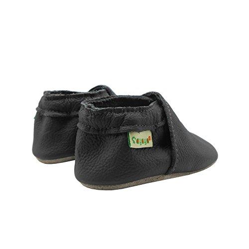 Sayoyo Baby Soft Sole Prewalkers Anti-Skip Baby Toddler Shoes Cowhide Shoes (6-12 Months, Dark Grey) by Sayoyo (Image #4)