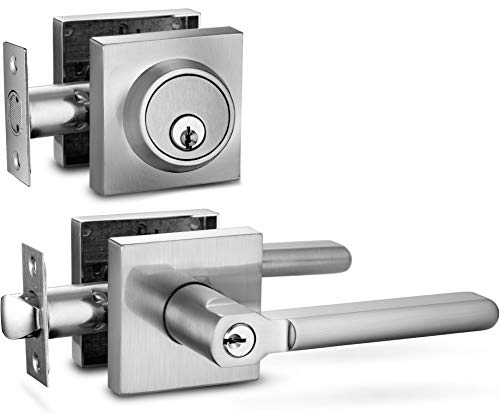 Berlin Modisch Entry Lever Door Handle and Single Cylinder Deadbolt Lock and Key Slim Square Locking Lever Handle Set [Front Door or Office] Right & Left Sided Doors Heavy Duty - Satin Nickel Finish