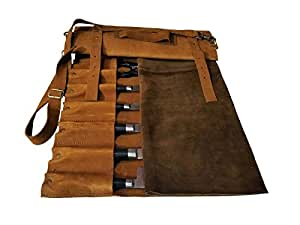 Lightweight Genuine Premium Leather Vintage Tan 10 pockets Chef Knife Bag/Chef Knife Roll with Buckles