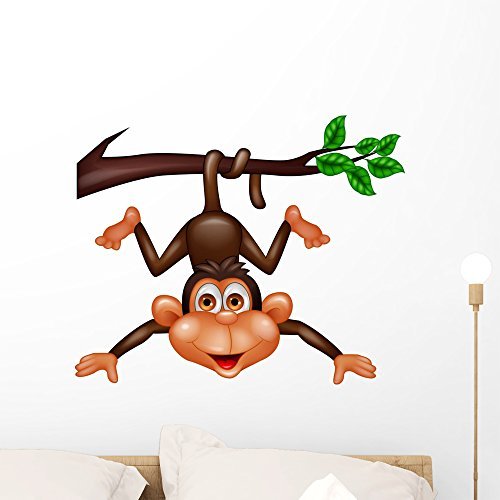 Baby Zoo Wall Hanging - Wallmonkeys Funny Monkey Hanging Tree Wall Decal Peel and Stick Graphic (24 in W x 20 in H) WM255341