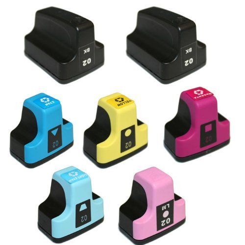 7 Pack Elite Supplies Ink Cartridge Replacement for HP02XL hp02 (2 Black, 1 Cyan, 1 Magenta, 1 Yellow, 1 Light Cyan, 1 Light Magenta)