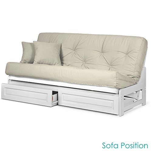 (Arden White Futon with Storage Drawers Queen Size - Minimalist Armless Design with 8 Inch Comfortable Mattress Included (Twill Ivory), Sofa Bed Available in Other Mattress Colors)