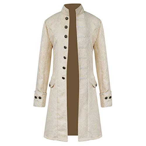 Mens Steampunk Victorian Medieval Jacket Viking Renaissance Tailcoat Gothic Tuxedo Play Performance Dress Up Costume White ()